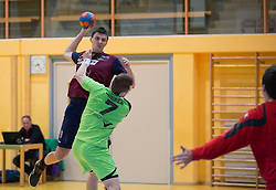 09.12.2014, Sporthalle, Leoben, AUT, OeHB-Cup Achtelfinale, Union JURI Leoben vs SG INSIGNIS Handball West Wien, im Bild Sasa Barisic Jaman (Leoben), Matthias Führer (West Wien) Sandro Uvodic (West Wien) // durning the OeHB-Cup, Round of the last sixteen, between, Union JURI Leoben vs SG INSIGNIS Handball West Wien at the Sport Hall, Leoben, Austria on 2014/12/09, EXPA Pictures © 2014, PhotoCredit: EXPA/ Dominik Angerer