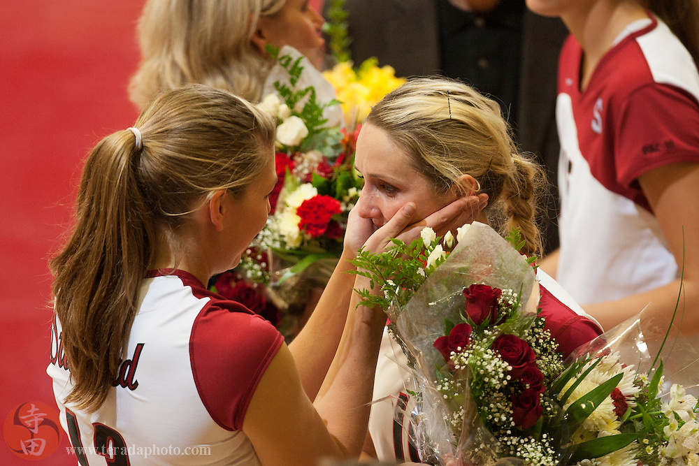 November 25, 2006; Stanford, CA, USA; Stanford Cardinal middle blocker Lizzie Suiter (13) and outside hitter Kristin Richards (10) during senior night before the game against the Washington State Cougars at Maples Pavilion. The Cardinal defeated the Cougars 30-27, 30-23, 30-18.