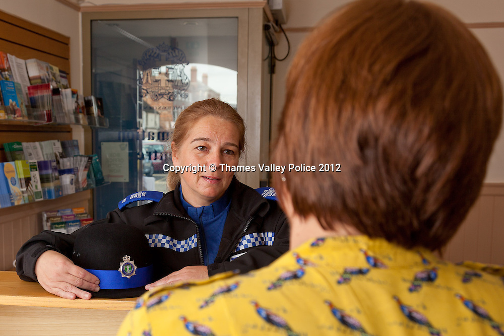Portrait of PCSO Diane Jackson who has been named Thames Valley Police PCSO of the year for Oxfordshire in the 2012 Community Policing Awards, which are voted for by members of the public. Diane is pictured on her beat in Thame at the offices of the Town Council and at the town market. Cookham, UNITED KINGDOM. September 19 2012. <br /> Photo Credit: MDOC/Thames Valley Police<br /> &copy; Thames Valley Police 2012. All Rights Reserved. See instructions.