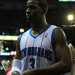 19 January 2009:  New Orleans Hornets guard Chris Paul (3) runs off the court following a buzzer beating three pointer that gave the New Orleans Hornets a 103-100 win over the Indiana Pacers at the New Orleans Arena in New Orleans, LA. .