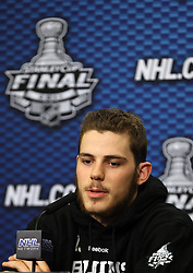 June 10, 2011; Vancouver, BC, CANADA; Boston Bruins center Tyler Seguin speaks at a press conference before game five of the 2011 Stanley Cup Finals against the Vancouver Canucks at Rogers Arena. Mandatory Credit: Jason O. Watson / US PRESSWIRE