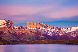 The majestic peaks and spires of Torres del Paine at dawn, Torres del Paine, Chile, South America