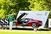 Korean golf professional Soomin Lee  tees off trying to get  a hole in one to win a BMW i at the BMW PGA Championship at the Wentworth Club, Virginia Water, United Kingdom on 27 May 2016. Photo by Simon Davies.