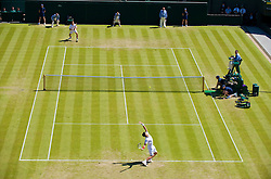 LONDON, ENGLAND - Wednesday, June 24, 2009: Novak Djokovic (SRB) serves to Simon Greul (GER) during the Gentlemen's Singles 2nd Round match on day three of the Wimbledon Lawn Tennis Championships at the All England Lawn Tennis and Croquet Club. (Pic by David Rawcliffe/Propaganda)