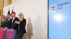"""19.03.2019, Bundeskanzleramt, Wien, AUT, Bundesregierung, Pressekonferenz zur Präsentation des """"Digitalen Amtes"""" und der Plattform www.oesterreich.gv.at, im Bild Bundesminister für Verkehr, Innovation und Technologie Norbert Hofer (FPÖ), Vizekanzler Heinz-Christian Strache (FPÖ), Bundeskanzler Sebastian Kurz (ÖVP) und Bundesministerin für Wissenschaft, Forschung und Wirtschaft Margarete Schramböck (ÖVP) // Austrian Minister for Transport, Innovation and Technology Norbert Hofer, Austrian Vice Chancellor Heinz-Christian Strache, Austrian Federal Chancellor Sebastian Kurz and Austrian Minister for Science, Research and Economy Margarete Schramboeck during media conference at federal chancellors office in Vienna, Austria on 2019/03/19 EXPA Pictures © 2019, PhotoCredit: EXPA/ Michael Gruber"""