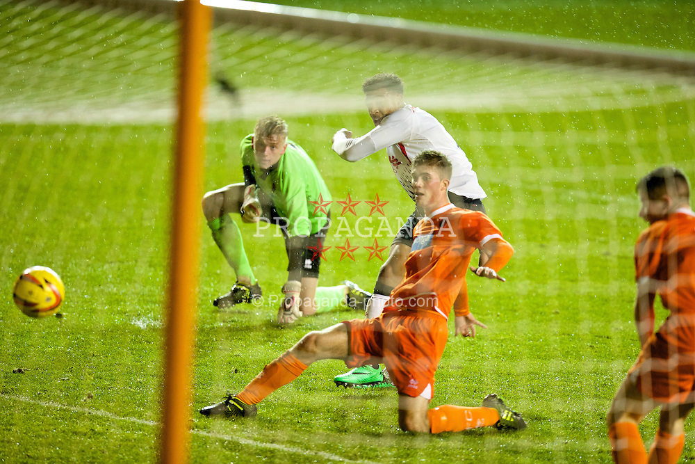 BLACKPOOL, ENGLAND - Wednesday, December 18, 2013: Liverpool's Jordon Ibe scores the first goal against Blackpool during the FA Youth Cup 3rd Round match at Bloomfield Road. (Pic by David Rawcliffe/Propaganda)