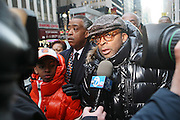 20 February 2009 NY, NY -l to r: Rev. Al Sharpton and Spike Lee at Day 2 of New York Post Protest by Rev. Al Sharpton and The National Network against offensive cartoon depicting dead Chimpanzee as President Obama.