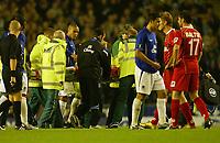 Photo: Aidan Ellis.<br /> Everton v Dinamo Bucuresti. UEFA Cup. 29/09/2005.<br /> Evertons Mikkael Arteta is stretcherd off near the end of the game