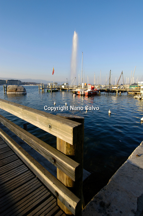 View of Jet D`eau and boats in the port, Geneva, Switzerland