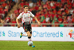 BANGKOK, THAILAND - Sunday, July 28, 2013: Liverpool's Joe Allen in action against Thailand XI during a preseason friendly match at the Rajamangala National Stadium. (Pic by David Rawcliffe/Propaganda)