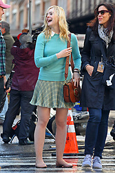 Elle Fanning has a laugh while filming for Woody Allen Film, NYC. 19 Oct 2017 Pictured: Elle Fanning. Photo credit: MEGA TheMegaAgency.com +1 888 505 6342