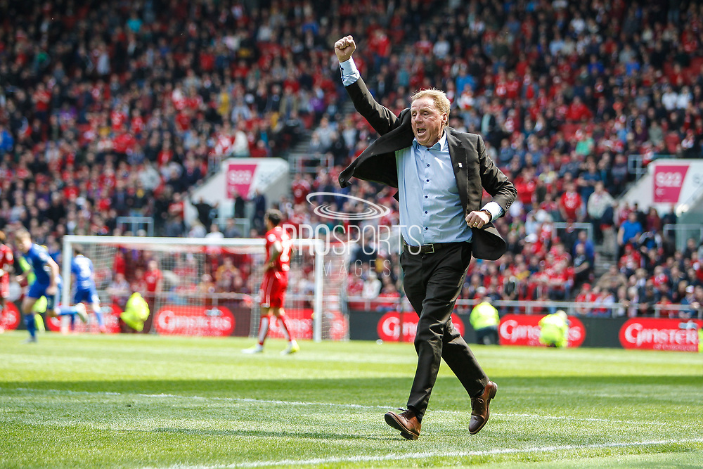 Birmingham City manager Harry Redknapp celebrates after keeping Birmingham City in the Championship the EFL Sky Bet Championship match between Bristol City and Birmingham City at Ashton Gate, Bristol, England on 7 May 2017. Photo by Andrew Lewis.