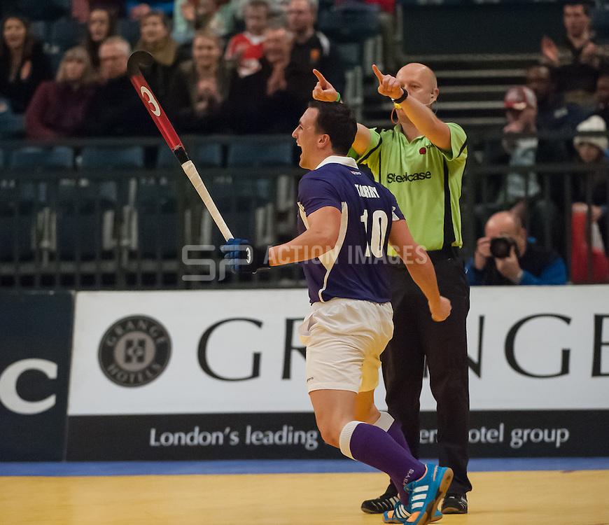 Sevenoaks'  George Torry celebrates scoring against Canterbury. Sevenoaks v Canterbury - Hockey 5s, SSE Arena, Wembley, London, UK on 25 January 2015. Photo: Simon Parker