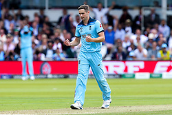 Chris Woakes of England celebrates taking the wicket of Tom Latham of New Zealand - Mandatory by-line: Robbie Stephenson/JMP - 14/07/2019 - CRICKET - Lords - London, England - England v New Zealand - ICC Cricket World Cup 2019 - Final