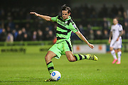Forest Green Rovers Darren Carter(12) crosses the ball during the Vanarama National League match between Forest Green Rovers and Tranmere Rovers at the New Lawn, Forest Green, United Kingdom on 22 November 2016. Photo by Shane Healey.