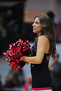 November 27, 2011; Moraga, CA, USA; Saint Mary's Gaels cheerleader performs before the Shamrock Office Solutions Classic against the San Francisco State Gators at McKeon Pavilion. The Gaels defeated the Gators 86-52.