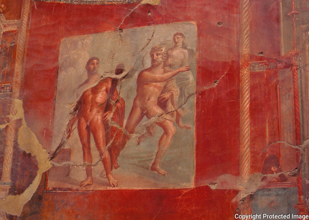 An ancient Roman painting in the college of Augustus in Herculaneum outside of Naples