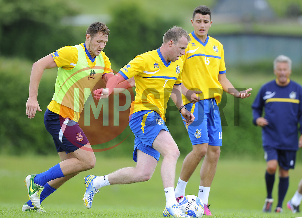 Bristol Rovers' David Clarkson battles for the ball with Bristol Rovers' Tom Parkes - Photo mandatory by-line: Joe Meredith/JMP - Tel: Mobile: 07966 386802 24/06/2013 - SPORT - FOOTBALL - Bristol -  Bristol Rovers - Pre Season Training - Npower League Two