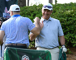 Former Ohio State head football coach Urban Myer and Pittsburgh head football coach Pat Narduzzi during the Chick-fil-A Peach Bowl Challenge Closest to the Pin Skills Competition at the Ritz Carlton Reynolds, Lake Oconee, on Monday, April 29, 2019, in Greensboro, GA. (Dale Zanine via Abell Images for Chick-fil-A Peach Bowl Challenge)