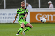 Forest Green Rovers Matt Mills(5) passes the ball forward during the Pre-Season Friendly match between Bath City and Forest Green Rovers at Twerton Park, Bath, United Kingdom on 27 July 2019.