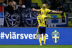 November 21, 2018 - Stockholm, Sweden - Marcus Berg (top) of Sweden celebrates his goal during the UEFA Nations League B Group 2 match between Sweden and Russia on November 20, 2018 at Friends Arena in Stockholm, Sweden. (Credit Image: © Mike Kireev/NurPhoto via ZUMA Press)