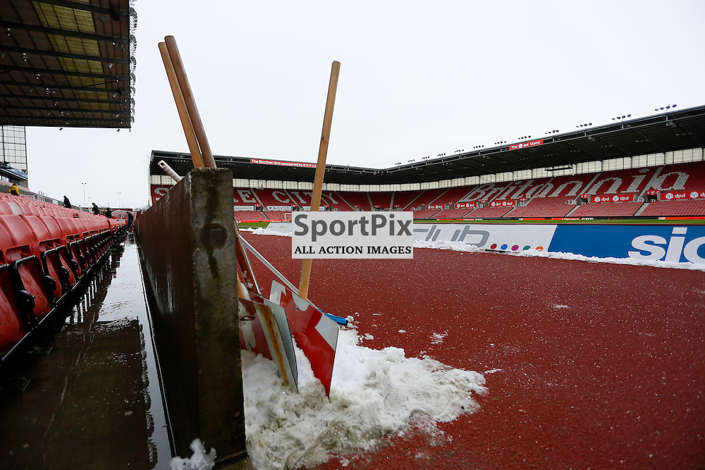 Overnight snow fell at the Briannia before Stoke City v Arsenal, Barclays Premier League, Sunday 17th January 2016, Britannia Stadium, Stoke