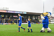 The match day mascots leave the pitch ahead of the EFL Sky Bet League 1 match between AFC Wimbledon and Fleetwood Town at the Cherry Red Records Stadium, Kingston, England on 30 March 2018. Picture by Stephen Wright.