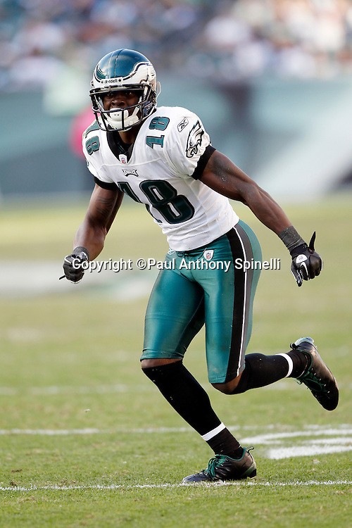 Philadelphia Eagles wide receiver Jeremy Maclin (18) goes out for a pass during the NFL week 6 football game against the Atlanta Falcons on Sunday, October 17, 2010 in Philadelphia, Pennsylvania. The Eagles won the game 31-17. (©Paul Anthony Spinelli)