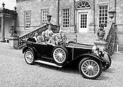 At the Irish Shell Ltd reception for the 80th Gordon Bennett Rally,  Russborough House, Blessington, County Wicklow, in Mr Maguire's Peugeot 1924, are (l–r): Mr and Mrs Rowe, Mr and Mrs Bernan and Miss Grainne O'Carroll, and Mr and Mrs John and Pat Maguire, President of the club.<br />