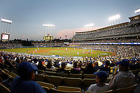 May 12, 2007:  Wide angle overview of fans sitting in the stands along the third base line during sunset as the Los Angeles Dodgers defeated the Cincinnati Reds 7-3 at Dodger Stadium in Los Angeles, CA. Over 51,000 people were in attendance.