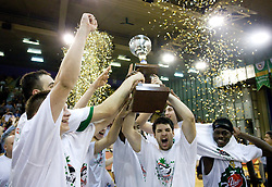 Jaka Klobucar, Saso Ozbolt, Brian Greene of Union Olimpija celebrate at third finals basketball match of Slovenian Men UPC League between KK Union Olimpija and KK Helios Domzale, on June 2, 2009, in Arena Tivoli, Ljubljana, Slovenia. Union Olimpija won 69:58 and became Slovenian National Champion for the season 2008/2009. (Photo by Vid Ponikvar / Sportida)