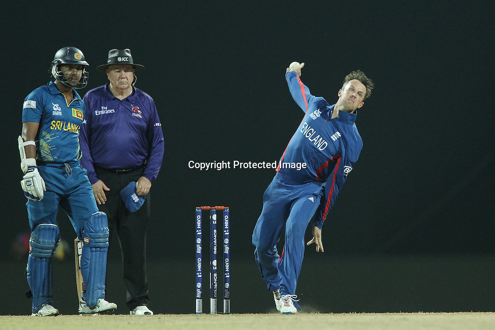 Graeme Swann of England bowls during the ICC World Twenty20 Super Eights match between England and Sri Lanka held at the  Pallekele Stadium in Kandy, Sri Lanka on the 1st October 2012<br /> <br /> Photo by Ron Gaunt/SPORTZPICS