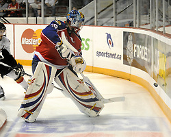 Moncton Wildcats' goaltender Nicola Riopel in Game 2 of the 2010 MasterCard Memorial Cup in Brandon, MB on Saturday May 15, 2010. Photo by Aaron Bell/CHL Images