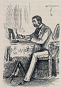 Man writing at a table. Engraving 1882.