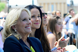 Jill Biden smiles as she watches her husband speaking on stage as former Vice President Joe Biden kicks off his 2020 campaign in the US Presidential Election, at an outdoor rally on the Benjamin Franklin Parkway in Philadelphia, PA on May 18, 2019.
