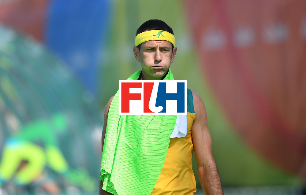 Australia's Jamie Dwyer reacts during the men's field hockey Australia vs New Zealand match of the Rio 2016 Olympics Games at the Olympic Hockey Centre in Rio de Janeiro on August, 6 2016. / AFP / MANAN VATSYAYANA        (Photo credit should read MANAN VATSYAYANA/AFP/Getty Images)