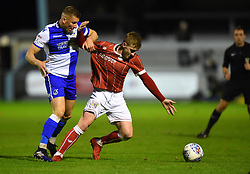 Connor Lemonheigh-Evans of Bristol City battles against Alfie Kilgour of Bristol Rovers - Mandatory by-line: Paul Knight/JMP - 16/11/2017 - FOOTBALL - Woodspring Stadium - Weston-super-Mare, England - Bristol City U23 v Bristol Rovers U23 - Central League Cup