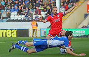 Peter Vincenti & Liam Kelly during the Sky Bet League 1 match between Rochdale and Oldham Athletic at Spotland, Rochdale, England on 24 October 2015. Photo by Daniel Youngs.