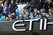 Sir Alex Ferguson Bobby Charlton & David Gill during the Barclays Premier League match between Manchester City and Manchester United at the Etihad Stadium, Manchester, England on 20 March 2016. Photo by Phil Duncan.