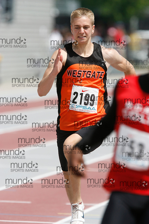 (London, Ontario}---04 June 2010) Ryan Scott of Westgate - Thunder  Bay competing in the 100 meters at the 2010 OFSAA Ontario High School Track and Field Championships. Photograph copyright Dave Chidley / Mundo Sport Images, 2010.