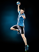 one caucasian man handball player isolated on black background