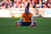Oldham Athletic midfielder Jack Byrne (29) sits on the pitch , dejected at the end of the EFL Sky Bet League 1 match between Northampton Town and Oldham Athletic at Sixfields Stadium, Northampton, England on 5 May 2018. Picture by Dennis Goodwin.