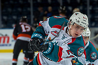 KELOWNA, CANADA - JANUARY 30: Kyle Topping #24 of the Kelowna Rockets warms up with a shot on net against the Medicine Hat Tigers on January 30, 2017 at Prospera Place in Kelowna, British Columbia, Canada.  (Photo by Marissa Baecker/Shoot the Breeze)  *** Local Caption ***