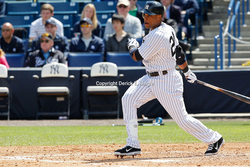 March 4, 2012; Tampa Bay, FL, USA; New York Yankees second baseman Robinson Cano (24) against the Philadelphia Phillies during spring training game at George M. Steinbrenner Field. Mandatory Credit: Derick E. Hingle-US PRESSWIRE