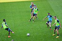 ALKMAAR - 24-08-2016, training AZ, AFAS Stadion, AZ speler Ridgeciano Haps, AZ trainer John van den Brom, AZ speler Stijn Wuytens, AZ speler Dabney dos Santos Souza, AZ speler Markus Henriksen