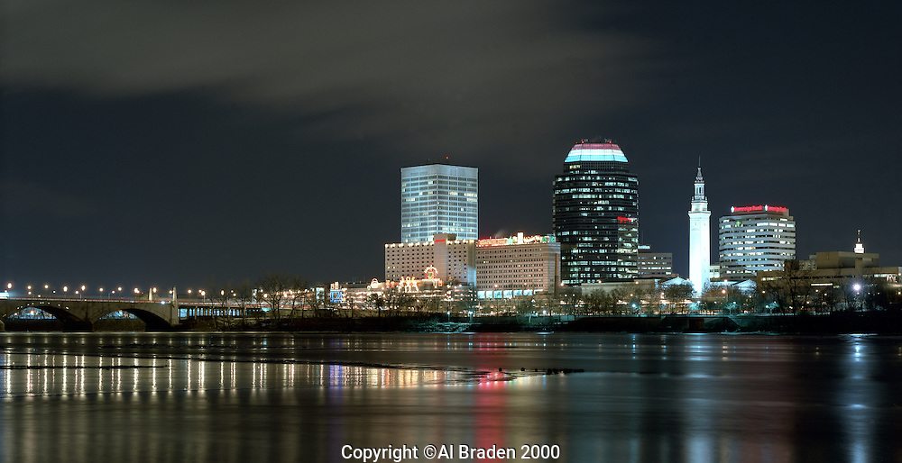 Skyline from Connecticut River at Christmas, Springfield, MA