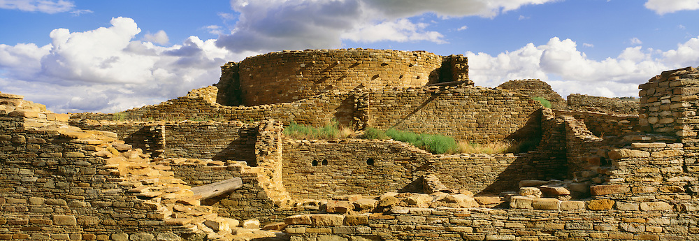 0204-1095 ~ Copyright:  George H. H. Huey ~ Remains of a tower kiva [at center] at Chetro Ketl, an Anasazi culture 'great house' with approximately 400 rooms and four stories high.  Chaco Culture National Historical Park, New Mexico.