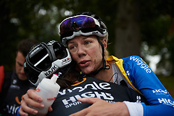 Emilia Fahlin (SWE) thanks her teammates for their efforts at Ladies Tour of Norway 2018 Stage 2, a 127.7 km road race from Fredrikstad to Sarpsborg, Norway on August 18, 2018. Photo by Sean Robinson/velofocus.com