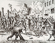 Mennonite Christians, Joriaan Simonsz, Clement Dirksz, George and Mary, with their books were burned in Haarlem (1557)