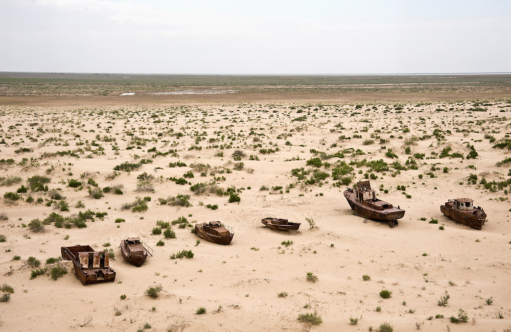 Over irrigation for Uzbek cotton fields has shrunk the Aral Sea and created a desert where there once was a fishing fleet.